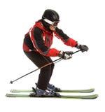 Skier man in ski slalom pose. Isolated on white Stock Photos