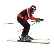 Skier man in ski slalom pose. Isolated on white Royalty Free Stock Photos