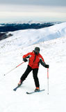 Skier man in snow mountains Royalty Free Stock Photos