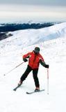 Skier man in snow mountains Royalty Free Stock Photos