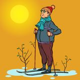 Skier man spring in the forest, sun stock image