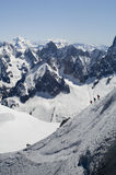 Skier on Mont Blanc. Mountain range viewed from Aiguille Du Midi Stock Images