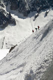 Skier on Mont Blanc. Mountain range viewed from Aiguille Du Midi Royalty Free Stock Photography