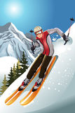 Skier in the mountain Stock Image