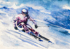 Skier. Mountain skier slides from the mountain. Picture created with watercolors Royalty Free Stock Photography