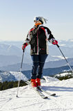 Skier on the mountain top Stock Images