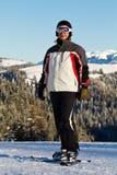 Skier in mountains Royalty Free Stock Photo