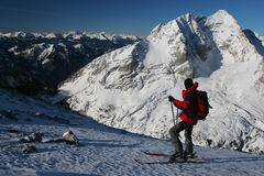 Skier in the mountains Stock Photography