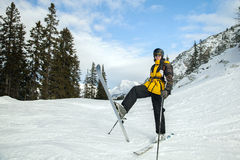 Skier in the mountains Royalty Free Stock Images