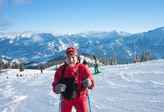Skier mountains in the background Royalty Free Stock Photo