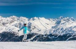 Skier mountains in the background. Ski resort Livigno Stock Photos