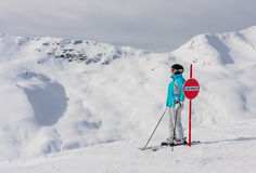 Skier mountains in the background Royalty Free Stock Photos