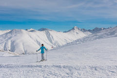 Skier mountains in the background. Ski resort Livigno Stock Image