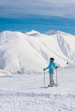 Skier mountains in the background. Ski resort Livigno Royalty Free Stock Image