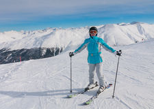 Skier mountains in the background. Ski resort Livigno Stock Photography