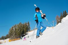 Skier in the mountains royalty free stock photography