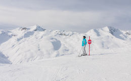 Skier Mountains In The Background. Ski Resort Livigno Royalty Free Stock Photos
