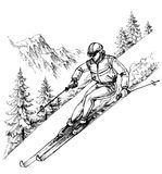 Skier in mountains landscape Royalty Free Stock Photo