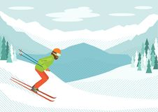 Skier in the mountains. Skier. Man skiing in the mountains. Winter sports. Vector illustration Stock Photo