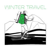 Skier in the mountains with tent. Vector illustration of skier in the mountains with tent and cross-country skiing Royalty Free Stock Images