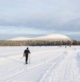 Skier next to mountains in Lapland Stock Photos