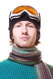 Skier Portrait Isolated On White Royalty Free Stock Photography