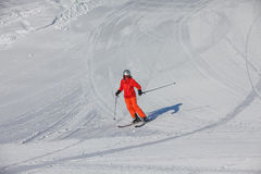 Skier is posing at camera at Gudauri resort in high mountaing of Royalty Free Stock Photo