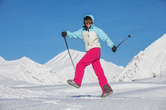 Skier is posing at camera at Gudauri resort in high mountaing of Stock Photos
