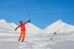 Skier is posing at camera at Gudauri resort in high mountaing of Stock Image