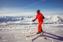 Skier is posing at camera Royalty Free Stock Photos