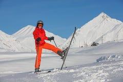 Skier is posing at camera at Gudauri resort in high mountaing of Georgia. Caucasus Royalty Free Stock Photo