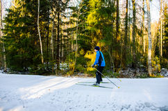 Skier on public ski slope in Finland Royalty Free Stock Images