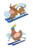 Skier-pullet-cow. Pullet and cow on the skies. Vector illustration Stock Image