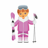 Skier in a purple suit Stock Image