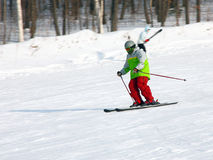 The skier quickly goes from mountain Stock Image