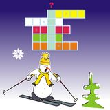 Skier-quiz. Crossword - Puzzle is a skier Stock Photos