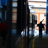 Skier on railway platform Stock Photos