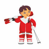 Skier in red suit. The boy in a beautiful ski suit. Vector illustration on a white background Royalty Free Stock Photo