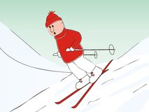 Skier. A skier in a red sweater and cap runs down the slope on skis Stock Photo