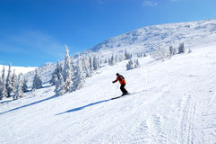 Skier rides on a slope in Jasna Royalty Free Stock Photos