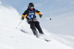 Skier rides steep mountains. Kamchatka Peninsula, Far East, Russ Stock Photos