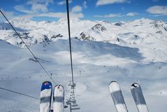 Skier's view from above Stock Photography