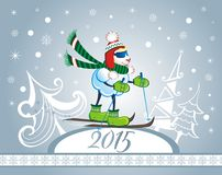 2015 skier sheep. Christmas card with skier funny sheep Royalty Free Illustration