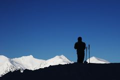 Skier Silhouette Royalty Free Stock Photo