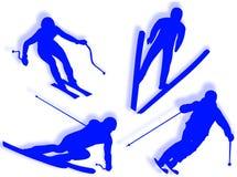 Skier silhouette Stock Photos