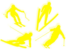 Skier silhouette Stock Photo