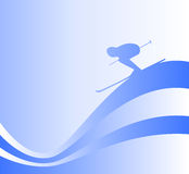 Skier silhouette Royalty Free Stock Image