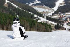 Skier on the mountain Stock Photography