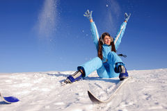 Skier sitting on the snow Stock Photos