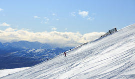 Skier ski on fresh powder snow Royalty Free Stock Image